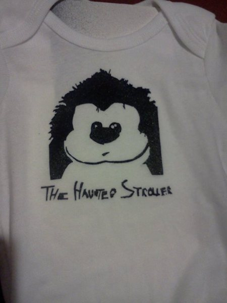 "Look at that!  Then take another look!  A ""Haunted Stroller"" onesie!  (Mad props to Ghoula Lola for going WAY above and beyond supporting us!)"